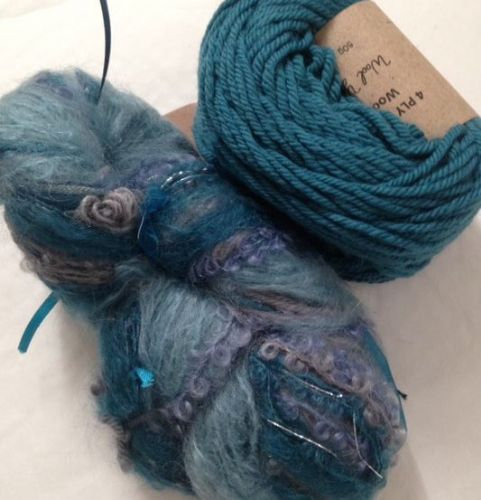 Magicball cowl - Mountain Lakes with dark turquoise